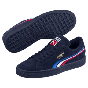 Thumbnail 2 of Suede Classic Multicolour Embroidery JR Sneakers, Peacoat-White-Red-Blue, medium