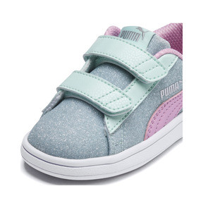 Thumbnail 6 of PUMA Smash v2 Glitz Glam Sneakers PS, F Aqua-P Pink-Silver-White, medium