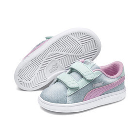 Thumbnail 2 of PUMA Smash v2 Glitz Glam Sneakers PS, F Aqua-P Pink-Silver-White, medium