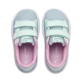 Thumbnail 7 of PUMA Smash v2 Glitz Glam Sneakers PS, F Aqua-P Pink-Silver-White, medium