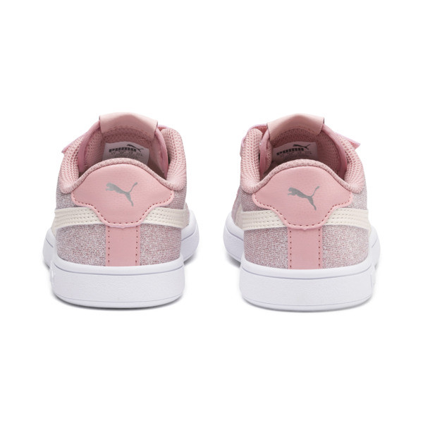 PUMA Smash v2 Glitz Glam Kid Girls' Trainers, B Rose-P Parchment-Silv-Wht, large