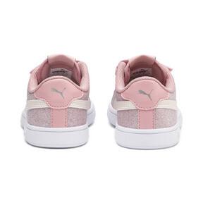 Thumbnail 3 of PUMA Smash v2 Glitz Glam Little Kids' Shoes, B Rose-P Parchment-Silv-Wht, medium