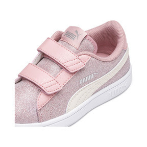 Thumbnail 7 of PUMA Smash v2 Glitz Glam Kid Girls' Trainers, B Rose-P Parchment-Silv-Wht, medium