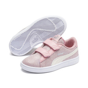 Thumbnail 2 of PUMA Smash v2 Glitz Glam Kid Girls' Trainers, B Rose-P Parchment-Silv-Wht, medium
