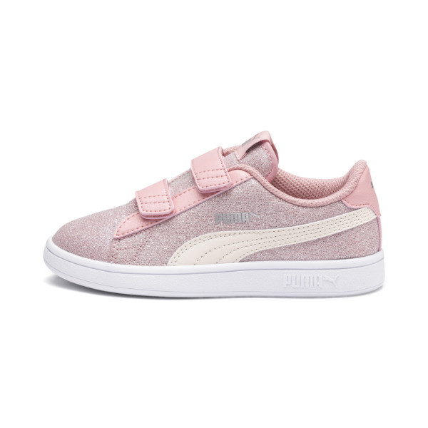 PUMA Smash v2 Glitz Glam Little Kids' Shoes, B Rose-P Parchment-Silv-Wht, large