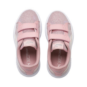 Thumbnail 6 of PUMA Smash v2 Glitz Glam Kid Girls' Trainers, B Rose-P Parchment-Silv-Wht, medium