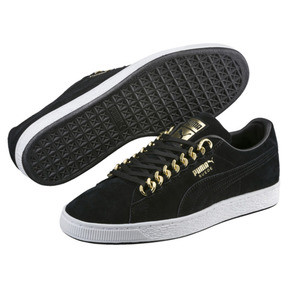 Thumbnail 2 of Suede Classic X-chains Trainers, Puma Black-Metallic Gold, medium