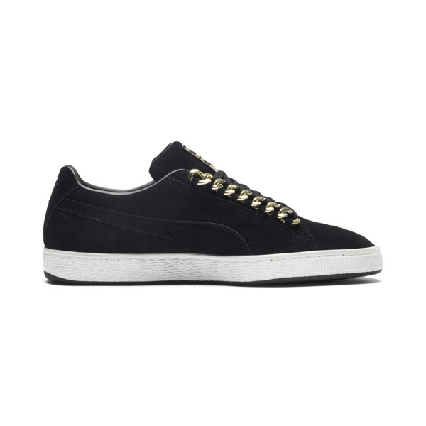 Suede Classic X-chains Trainers, Puma Black-Metallic Gold, large