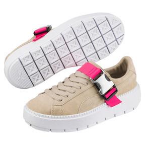 Thumbnail 2 of Platform Trace Buckle Women's Sneakers, Cement-Cement, medium