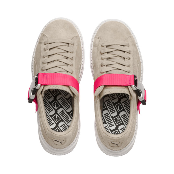 Platform Trace Buckle Women's Sneakers, Cement-Cement, large