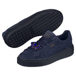 Thumbnail 2 of Suede Platform Gem Women's Sneakers, Peacoat-Peacoat, medium