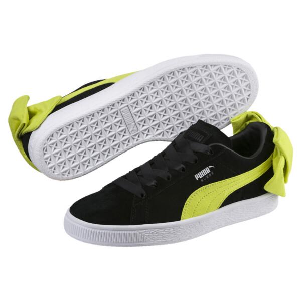 Suede Bow Block Women's Sneakers, Puma Black-Sulphur Spring, large