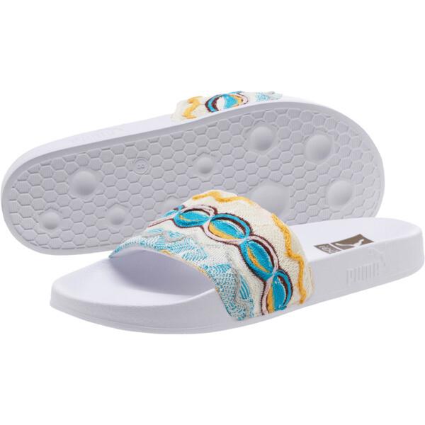 PUMA x COOGI Leadcat Slide Sandals, Puma White-Gold, large