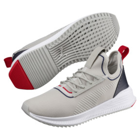 Thumbnail 2 of Avid evoKNIT Sports Stripes Running Shoes, GrayViolet-Peacoat-RibbonRed, medium
