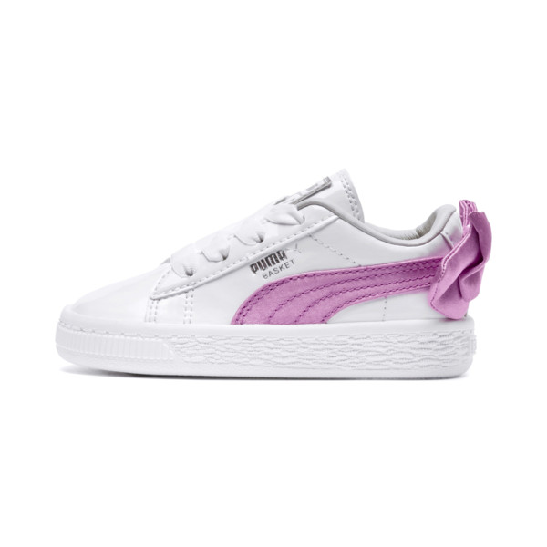Basket Bow Patent Baby's Sneakers, Puma White-Orchid-Gray, large