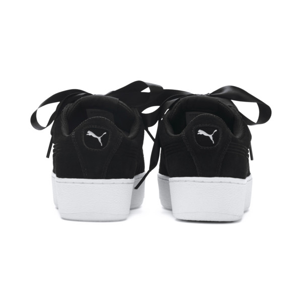 Vikky Platform Ribbon Youth Girls' Trainers, Puma Black-Puma Black, large