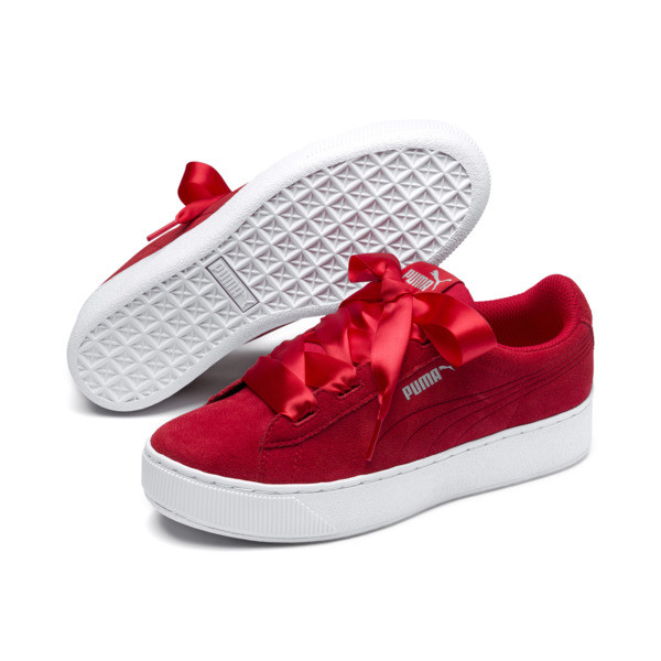 Vikky Platform Ribbon Youth Girls' Trainers, Hibiscus -Hibiscus, large