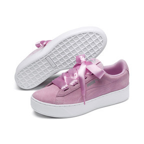 Thumbnail 2 of Vikky Platform Ribbon Kids' Girls' Trainers, Pale Pink-Pale Pink, medium