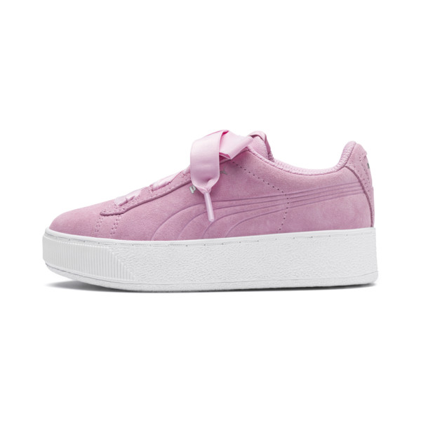 Vikky Platform Ribbon Kids' Girls' Trainers, Pale Pink-Pale Pink, large