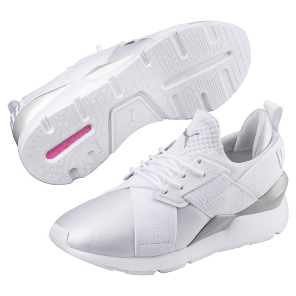 Muse Kids' Trainers, Puma White-Puma White, large