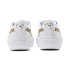 Thumbnail 4 of Basket Platform Trace Varsity pour femme, Puma White-Metallic Gold, medium