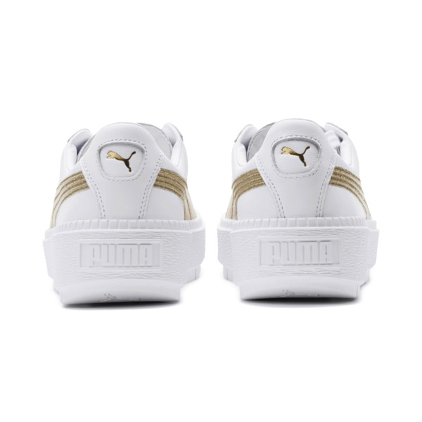 Basket Platform Trace Varsity pour femme, Puma White-Metallic Gold, large