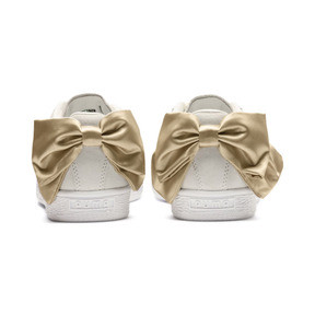 Thumbnail 4 of Suede Bow Varsity Women's Trainers, Marshmallow-Metallic Gold, medium