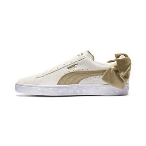 Thumbnail 1 of Suede Bow Varsity Women's Sneakers, Marshmallow-Metallic Gold, medium
