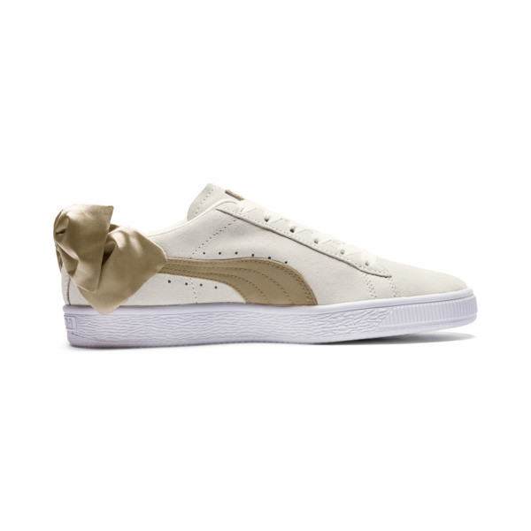 Suede Bow Varsity Women's Sneakers, Marshmallow-Metallic Gold, large