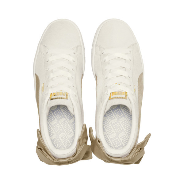 Suede Bow Varsity Women's Trainers, Marshmallow-Metallic Gold, large