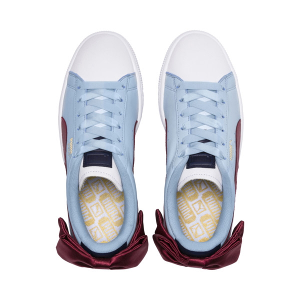 Basket Bow New School Women's Sneakers, P.White-CERULEAN-Pomegranate, large