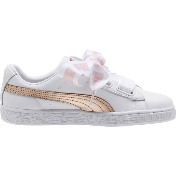 Basket Heart Metallic FS Wns, Puma White-Rose Gold, large