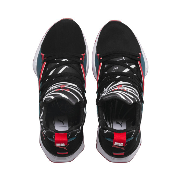 PUMA x SHANTELL MARTIN Muse Maia Graphic Women's Trainers, Puma Black-Spiced Coral, large