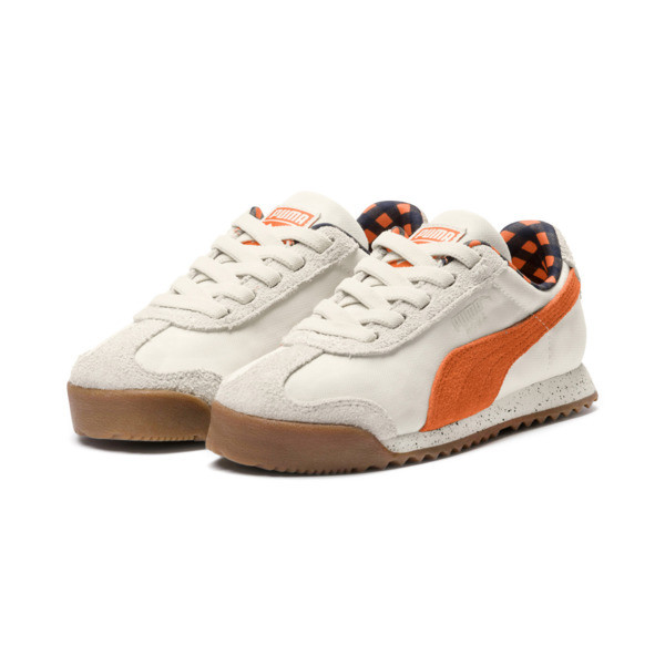 PUMA X TINYCOTTONS Roma Preschool Sneakers, White Asparagus-Orange-Blue, large
