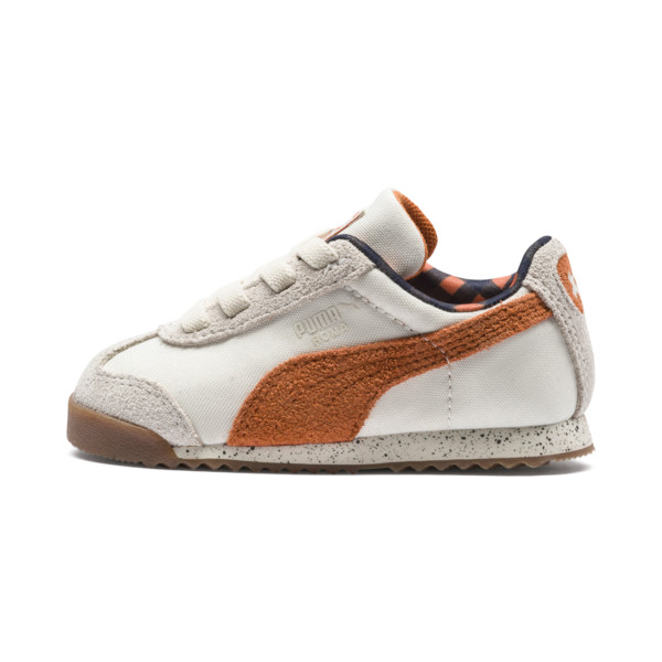 PUMA x TINYCOTTONS Roma LDN Baby Trainers, White Asparagus-Orange-Blue, large