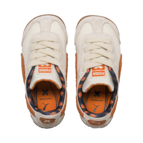 Thumbnail 6 of PUMA x TINYCOTTONS Roma LDN Baby Trainers, White Asparagus-Orange-Blue, medium