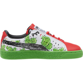 Thumbnail 3 of Basket Cactus Monster JR Sneakers, Poinsettia-Green-White, medium