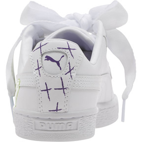 Thumbnail 4 of Basket Heart Glitter Hearts JR Sneakers, White-Prism Violet-Green, medium