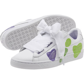 Thumbnail 2 of Basket Heart Glitter Hearts JR Sneakers, White-Prism Violet-Green, medium