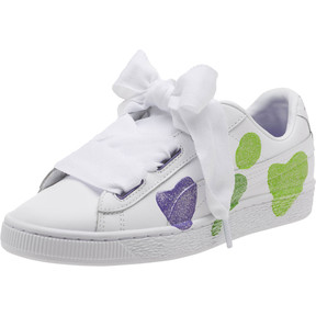 Thumbnail 1 of Basket Heart Glitter Hearts JR Sneakers, White-Prism Violet-Green, medium