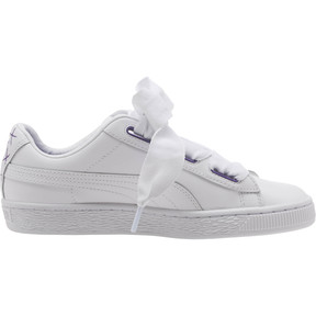 Thumbnail 3 of Basket Heart Glitter Hearts JR Sneakers, White-Prism Violet-Green, medium