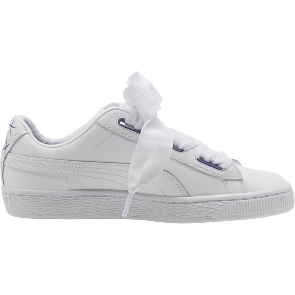 Basket Heart Glitter Hearts JR Sneakers, White-Prism Violet-Green, large