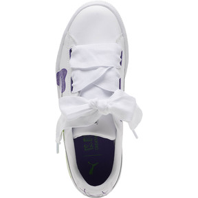 Thumbnail 5 of Basket Heart Glitter Hearts JR Sneakers, White-Prism Violet-Green, medium
