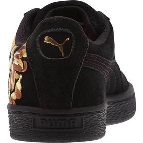 Thumbnail 4 of Suede Hyper Embroidered Women's Sneakers, Puma Black-Puma Team Gold, medium