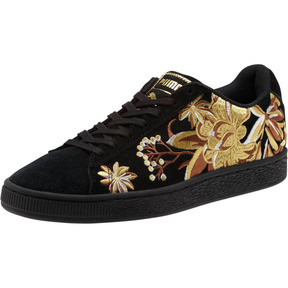 Thumbnail 1 of Suede Hyper Embroidered Women's Sneakers, Puma Black-Puma Team Gold, medium