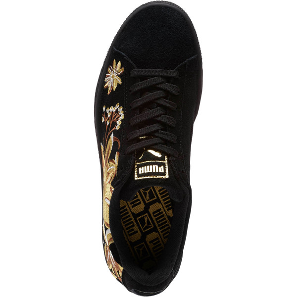 Suede Hyper Embroidered Women's Sneakers, Puma Black-Puma Team Gold, large