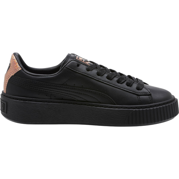 Basket Platform RG Women's Sneakers, Puma Black-Rose Gold, large