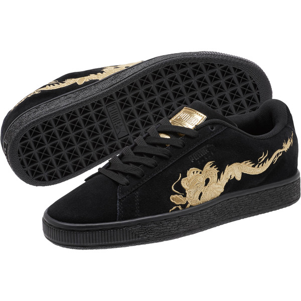Suede Dragon JR Sneakers, Puma Black-Metallic Gold, large