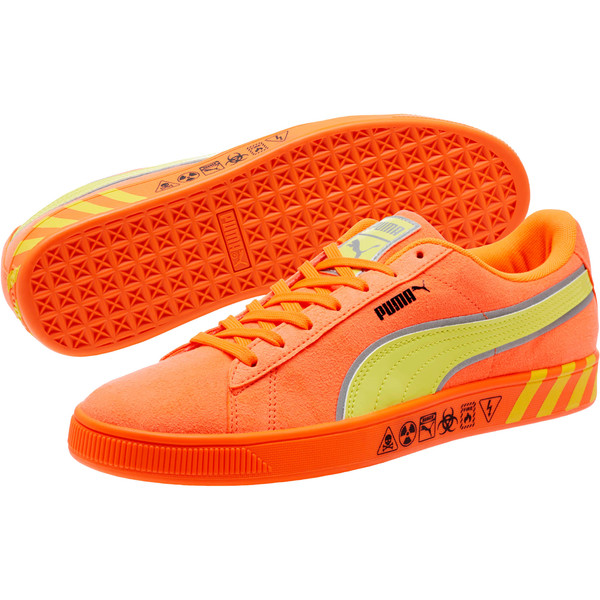 Puma Hazard Orange Suede Sneakers, Shocking Orange-Lemon Tonic, large