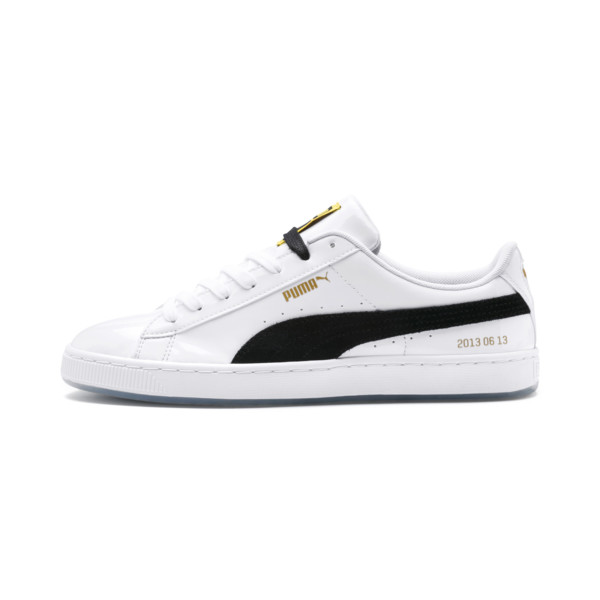 PUMA x BTS Basket Patent Sneakers, Puma White-Puma Black, large